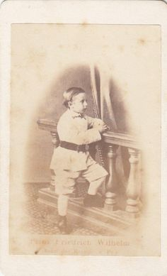 This original old cdv photo (size about 6,5 x 10,5 cm) shows Prince Wilhelm of Prussia (1859-1941 … later Kaiser Wilhelm II), he was the oldest son of Crown Prince Friedrich Wilhelm of Prussia (1831-1888 … later German Kaiser Friedrich III) his wife Victoria Princess Royal of Great Britain and Ireland, etc (1840-1901 … daughter of Queen Victoria).   eBay!