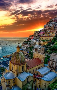 Sunset in Positano, Italy