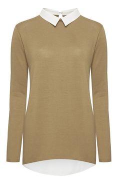 16€ Primark - Jersey color avena con cuello de camisa