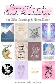 Free angel card printables for greetings, holiday, gifts, home decor, art, and more. Download and print these inspirational angel cards and enjoy their messages. #angelcards #freegreetingcards #freecards #freeprintables