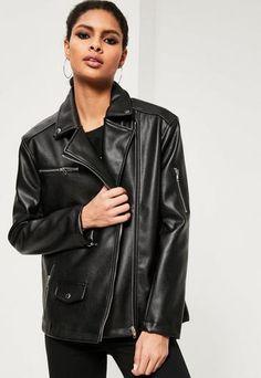 Missguided - Black Oversized Boyfriend Faux Leather Biker Jacket  261b377da7