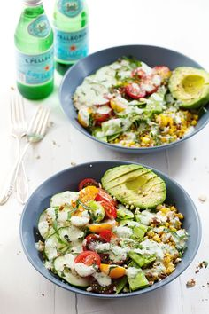 Rainbow Veggie Bowls with Jalapeño Ranch - colorful layers of grains, beans, veggies, nuts, and homemade jalapeño ranch dressing. NUMMY! 300 calories. | pinchofyum.com #salad #recipe #vegetarian #healthy #ranch