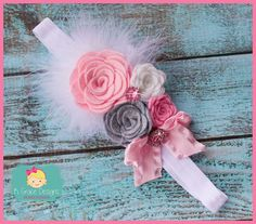 Light Pink White and Gray Bouquet Rosette by KyleighGraceDesigns