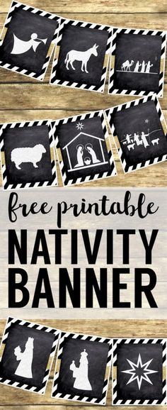 Christmas Nativity Banner free printable. Print this silhouette banner for some easy and cute Christmas decor. These chalkboard nativity signs with gold embellishment are easy Christmas decorations. #papertraildesign