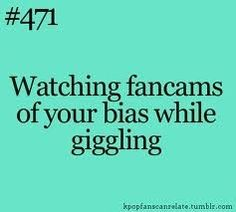 Kpop realatable quote about watching fan cans of biases and giggling!