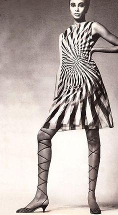1965. Harper's Bazaar. Donyale Luna (B1945 Peggy Ann Freeman -D1979). First African-American cover girl in 1966 for British Vogue. Dress by Bill Blass for Maurice Retner. Photo by Richard Avedon (B1923 - D2004)