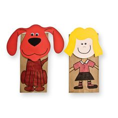 Clifford and Emily Elizabeth Paper Bag Puppets