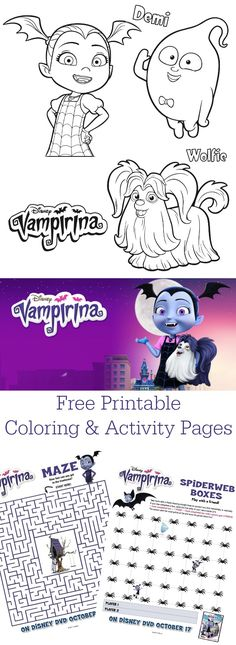 Disney Junior Vampirina Coloring Pages. Free printable Disney Vampirina pages. 6th Birthday Parties, 4th Birthday, Disney Junior Birthday, Party Printables, Free Printables, Casa Halloween, Halloween Kids, Vampire Party, Color Activities