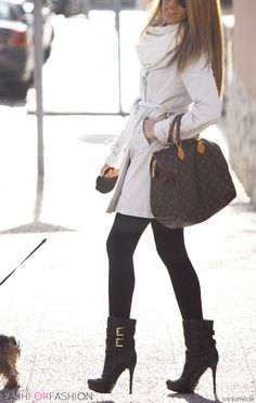 I want it all!!!!!! Likes: outfit combo of cream trench/wrap around sweater+ black leggings/tights+stilleto booties