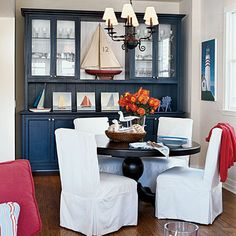 "This dining room was dubbed ""The Boathouse"" for its nautical details."