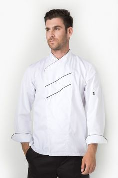 For the boss: The Aris jacket makes you look the part. Long sleeve with turn back cuffs, sleeve pocket. Contrast trim along collar, front panel and cuffs. Executive Chef, Work Attire, Dark Grey, Chef Jackets, Shirt Dress, Chefs, Long Sleeve, Sleeves, Cotton