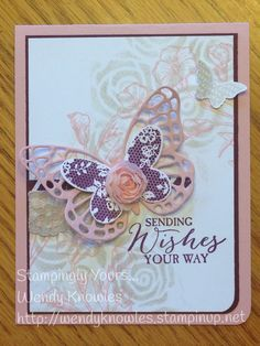 Stencil Embellished Butterfly - the Butterfly Framelits and Butterfly Basics are a must have for any crafter's closet!!