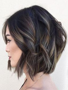 60 Layered Bob Styles: Modern Haircuts with Layers for Any Occasion Black Wavy Bob With Subtle Highlights Bob Hairstyles For Thick, Layered Haircuts, Bob Haircuts, Medium Hairstyles, Curly Hairstyles, Wedding Hairstyles, Hairstyles 2018, Trendy Hairstyles, Highlighted Hairstyles