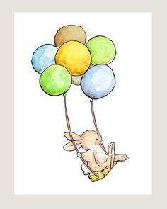 Children Art. The Balloon SwingBOYS. PRINT 8X10. by LoxlyHollow