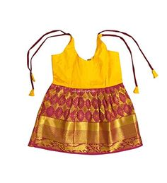 23e4c3175a38 Pattu Pavadai Just Born Babies Pure Silk Frock Yellow and Maroon for  Special Festival Occasions – 3 Months
