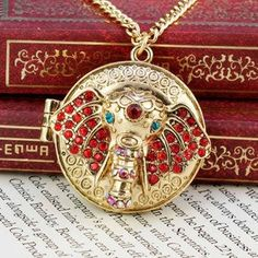 Long Vintage Gold Elephant Locket Necklace / Openable / by LDnest, $7.99