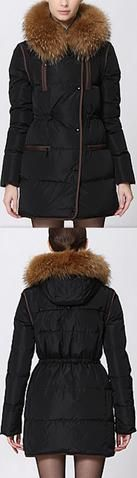 Short Puffer Coat with Contrast Zip-Pockets, Black