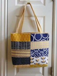 Diary of a Quilter - a quilt blog: Navy and Gold Handmade Bag + Bag Patterns Giveaway