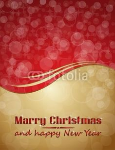 marry christmas card red gold