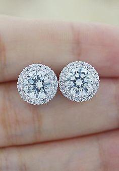 Halo Style Luxury Cubic Zirconia Ear Stud from EarringsNation #Earrings