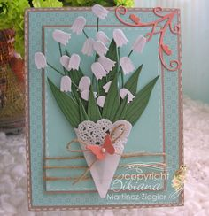 By Bibiana: card featured at the French blog Un brin de Créativité for #memorybox. use the #Tulip Die  to make a #lily of the valley flower. more details please visit my personal blog: http://stampingwithbibiana.blogspot.com/2013/05/lily-of-valley-happiness-in-may.html