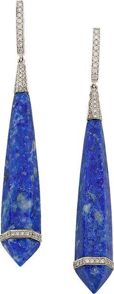 BLUE LAPIS LAZULI, DIAMOND, & WHITE GOLD EARRINGS, ELI FREI, ht