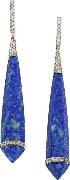 BLUE LAPIS LAZULI, DIAMOND, & WHITE GOLD EARRINGS, ELI FREI, ht