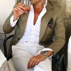 Casual Style Man Suit Gray Blazer White Pants 2 Pieces Groom Tuxedos For Beach Wedding Mens Wedding Prom Dinner Party Suits Costume Gris, Mode Costume, Gentleman Mode, Gentleman Style, Look Fashion, Mens Fashion, Fashion Tips, Elegance Fashion, Zara Fashion