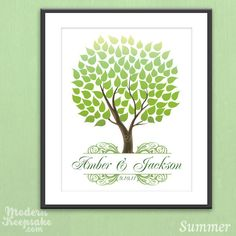 Personalized Seasonal Wedding Tree Guestbook Print - 16x20 - 100 Signature Guest book Poster. $38.00, via Etsy.