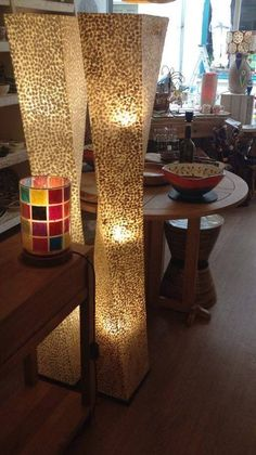Hand made floor lamps made from capiz shells made in bali capiz shell twisted floor lamps hand made in bali size 15m aloadofball Images