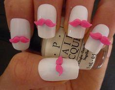 3D Nail Art Hot Pink Mustache Kawaii Nail Decoration