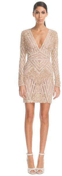 Elie Saab -  Vanilla Fully Embroidered Mini Dress