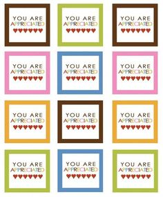 You are Appreciated -Teacher Appreciation Day -Free Printables - Amazing Diy Gifts Employee Appreciation Gifts, Volunteer Appreciation, Teacher Appreciation Week, Employee Gifts, Staff Gifts, Volunteer Gifts, Teacher Treats, Teacher Gifts, Teacher Presents