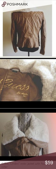 """GUESS """"LONDON"""" FAUX LEATHER ,MOTO JACKET LIKE NEW CONDITION GUESS LARGE TAN OFF CENTER ZIPPER FOLD DOWN COLLAR Faux shearing on collar Never Worn Polyester lining 2 front pockets Guess Jackets & Coats"""