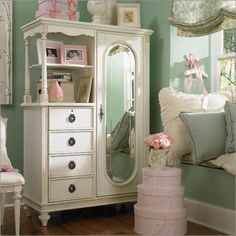 Pink and mint green.  This could work in our room, walls are mint and furniture is white