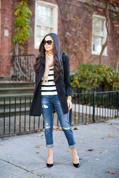 Classic trench + stripe sweater.