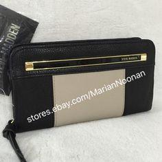 NEW Steve Madden Zip Around Color Block Wallet Black Taupe Logo Panel MR112710 #SteveMadden #ZipAroundBifold
