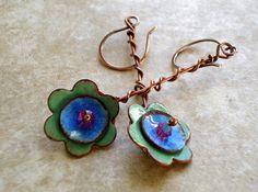 Earrings Copper Enamel Wire Wrapped Flower by fitzUniqueli on Etsy