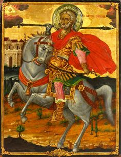 Detailed view: Saint Menas- exhibited at the Temple Gallery, specialists in Russian icons Art Works, Russian Icons, Saint George, Byzantine Art, Faith Art, Painting, Art, Christian Art, Sacred Art