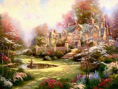 Puzzle 2000 Teile Gardens Beyond Spring Gate Thomas Kinkade Painter of Light Puzzles & Geduldspiele