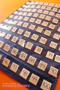 Imprescindibles - Pocket Chart Tablero del 100 - Imprimible Gratis - Creciendo con Montessori