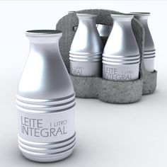 Leite Integral is designed using recycled aluminium and sold in an case made of egg carton material.