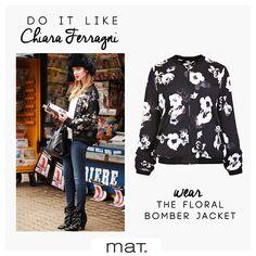 Do it like Chiara Ferragni! Η γνωστή fashion blogger Chiara φωτογραφήθηκε για την Vogue φορώντας το αγαπημένο της τζιν παντελόνι με το hot fashion item της φετινής σεζόν, το floral bomber jacket! Ξύπνησε τον ατίθασο εαυτό της εφηβείας σου και δώσε μία ανατρεπτική πινελιά στο ντύσιμο σου, φορώντας το #matfashion floral bomber jaket! Κωδικός 661.4087 #fallwinter2016 #collection #floral #bomberjacket #fashion #trend #ootd #chiaraferragni #streetstyle #inspiration