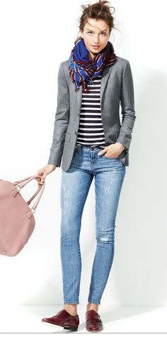 Fall :: Grey blazer, grey/black striped top, multi color scarf, denim jeans