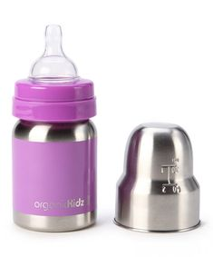 Stainless steel organic baby bottles that convert later to sippy cups and then water bottles.