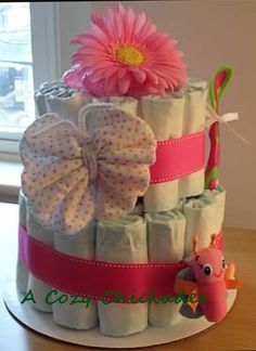 Pink Diaper Cake for Baby Girl by ACozyChickadee on Etsy, $40.00