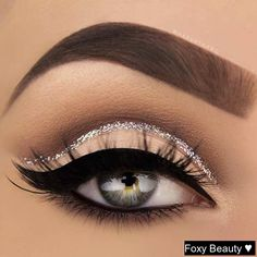 Silver Glitter Cut Crease Eye Makeup Look. So #beautiful #makeup #look #skincare #cosmetics #smile #friends