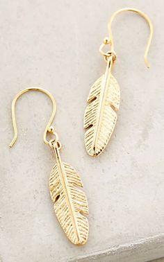 sweet gold feather earrings