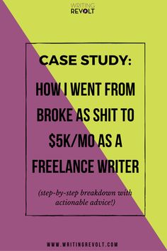 In this case study, I talk about how I became a freelance writer. Lots of actionable tips – perfect for anyone who wants to make money writing online and work from home! Check it out. :)