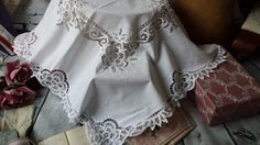 New to NostalgiqueBoutique on Etsy: Stunning Vintage Small White Cotton Tape Lace Tablecloth White work Embroidery (14.00 GBP)
